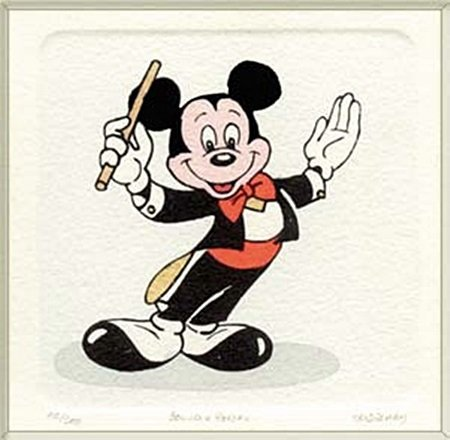 """Disney Licensed Original Etching """"Mickey Mouse"""" (1054A)"""