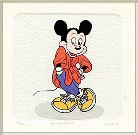 """Disney Licensed Original Etching """"Mickey Mouse"""" (1054B)"""
