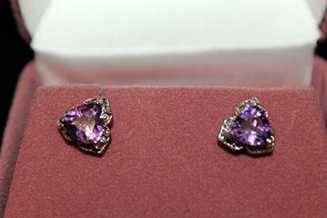 Lady's Fancy Purple Gemstone & Diamonds Silver Stud
