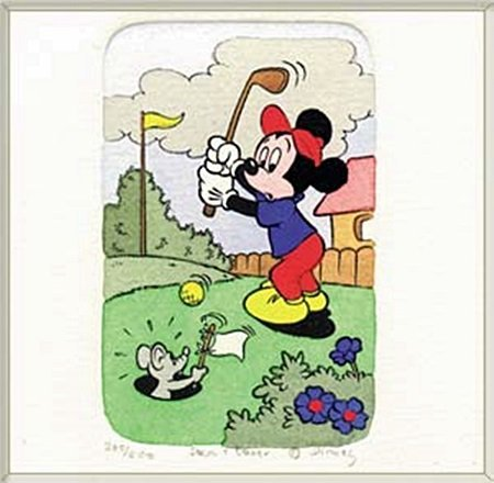 """Disney Licensed Original Etching """"Mickey Mouse Golfing"""""""