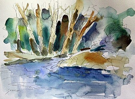 Watercolor on Paper by Michael Schofield (38H)