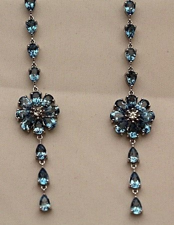 Beautiful Silver Earrings with Topaz (5I)
