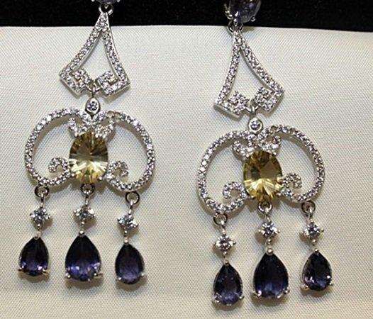 Lady's Beautiful Silver Earrings with Citrine &