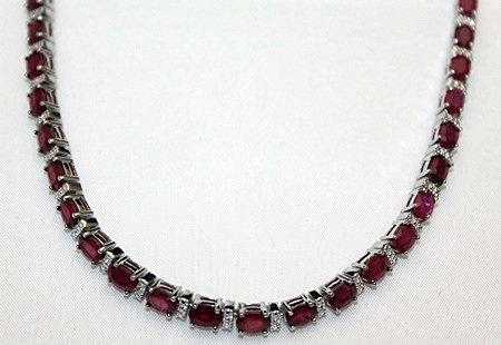 Lady's Fancy Silver Necklace with Pigeon Blood Rubies &