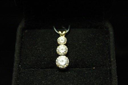 Fine 14kt Gold over Silver White Sapphire Pendant (3M)