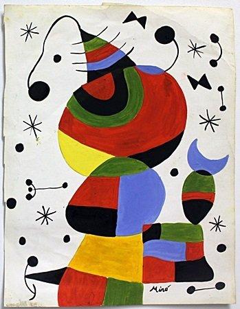 Original Oil on Paper by Joan Miro