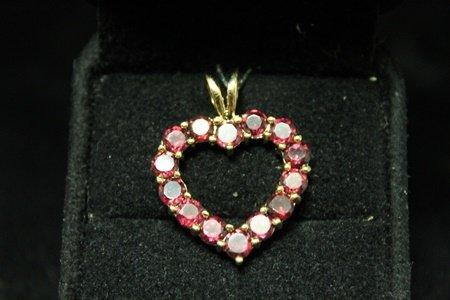 Dazzling 14kt Gold over Silver Heart Garnet Pendant