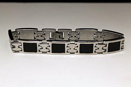 Gorgeous Male's Black Onyx Titanium Bracelet (10B)