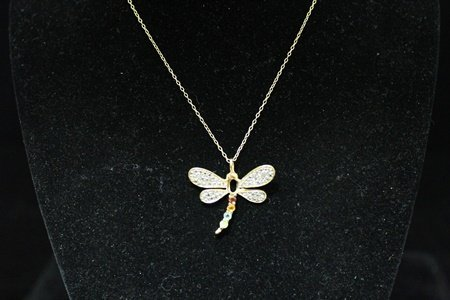 Beautiful Fine 14kt Gold over Silver Dragonfly