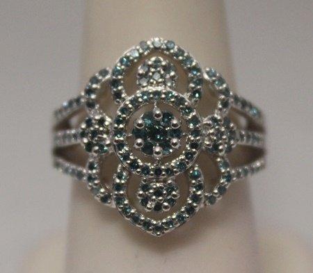 Fancy Blue Diamonds  Silver Ring (83R)