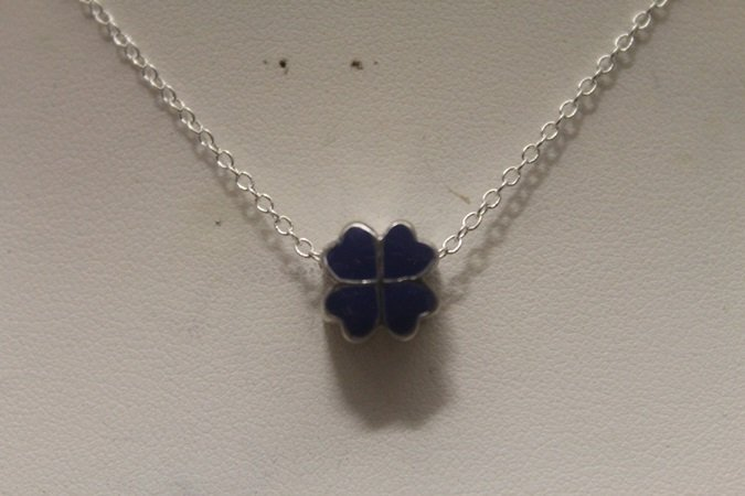Gorgeous Blue Hearts Silver Necklace (92N)