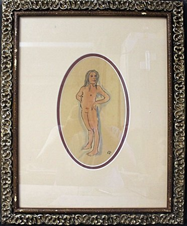"""""""Standing Nude"""" Ink & Water Color on Paper By Oskar"""