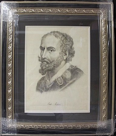 Original Lead Portrait On Paper, Signed Paul Rubens