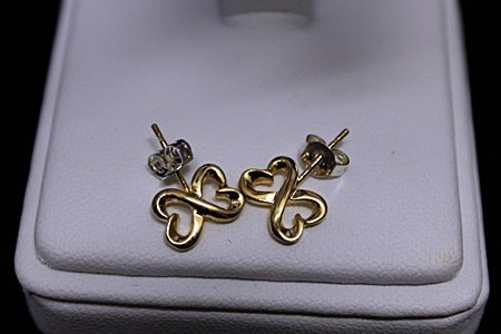 Gorgeous 14kt Gold over Silver Double Heart Stud