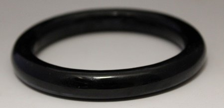 Fine Hand Carved Black Jade Bangle (6B)