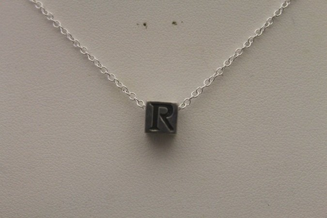 "Lady's Beautiful ""R"" Block Silver Necklace (6N)"