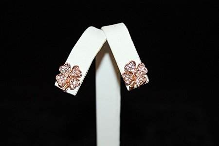 Exquisite 14kt Rose Gold over Silver Clover Stud