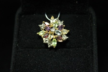 Dazzling 14kt Gold over Silver Multicolor Gemstones