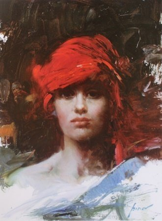 """Red Turban"" Giclee on Paper After Pino (6ZI)"