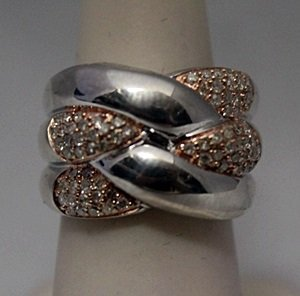 Beautiful 14kt Rose Gold over Silver Diamonds Ring