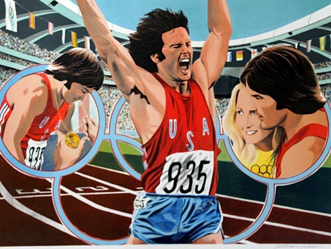 """Lithograph """"Bruce Jenner Decathlon"""" after William"""