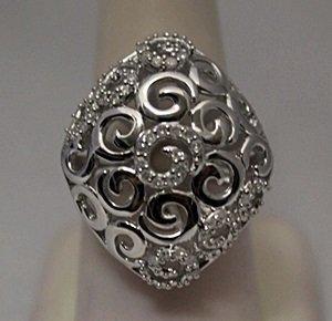 Elegant White Diamonds Silver Cape Ring