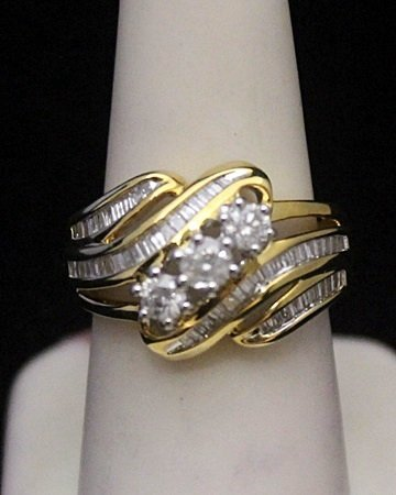 Lady's Beautiful 14kt over Silver Ring with Cluster