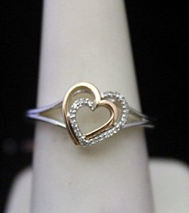 Fancy 14kt over Silver Double Heart Shape Ring with
