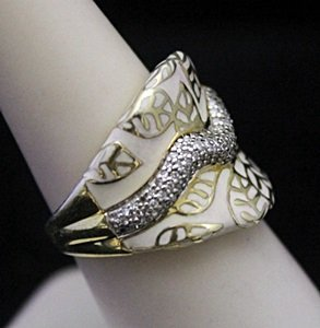 Beautiful 14kt over Silver Leafs Print Ring with - 2