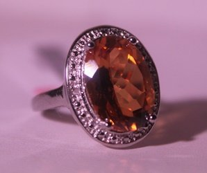 Exquisite Sterling Silver Ring with Lab Orange Sapphire