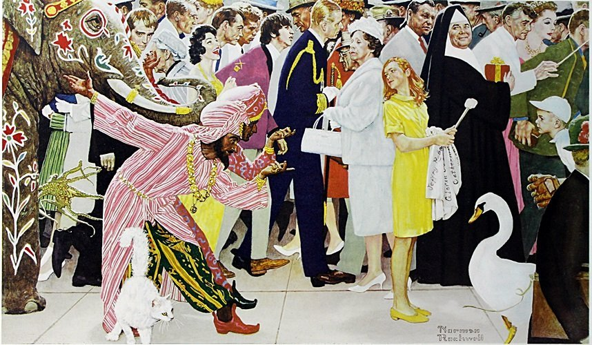 """Lithograph """"Saturday People"""" after Norman Rockwell"""