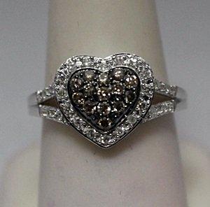 Beautiful Heart Shape Champagne & White Diamonds Silver