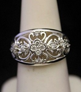 Lady's Fancy Silver Ring with Diamonds