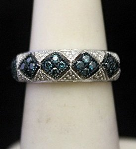 Very Fancy Silver Ring with Blue Topaz & Diamonds