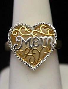 "Gorgeous 14kt over Silver Heart Shape ""Mom"" Ring"