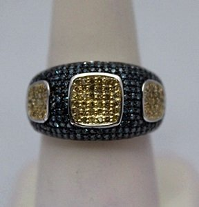 Gorgeous Blue & Champagne Diamonds Silver Ring