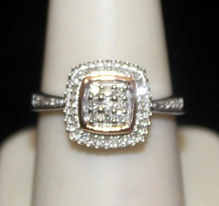Gorgeous 14kt over Silver Ring with Cluster Diamonds