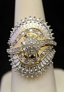Very Fancy 14kt over Silver Ring with Cluster Diamonds