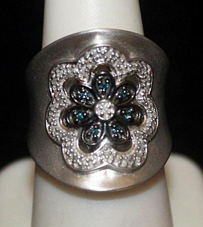 Gorgeous Siver Ring with Lab Alexandrites & Diamonds