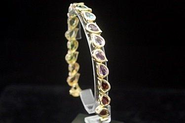 Beautiful 14kt Gold over Silver Mix Stones Bracelet