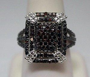 Beautiful Red Diamonds  Silver Ring