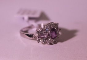 Exquisite Sterling Silver Ring With Tanzanite