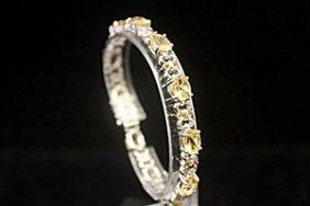 Fine Smokey Quartz & Sapphire Silver Bracelet
