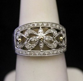 Fancy Antique Style Silver Ring With Diamonds