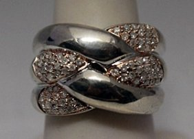 Fine 14kt Rose Gold Over Silver Diamonds Ring