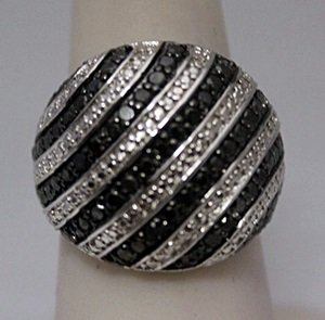 Stunning Black Diamonds Silver Ring