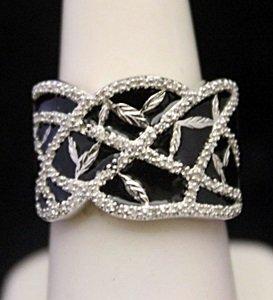 Lady's Fancy Silver Ring with Black Onyx & Diamonds