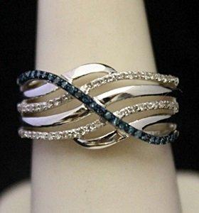 Beautiful Silver Ring With Lab Alexandrites & Diamonds