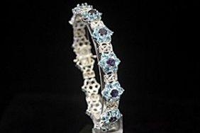 Stunning Topaz & Sapphire Silver Bracelet