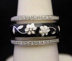 Lady's Fancy Silver Trio Ring With Black Onyx &